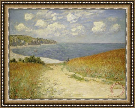 Claude Monet Path in the Wheat at Pourville Framed Print