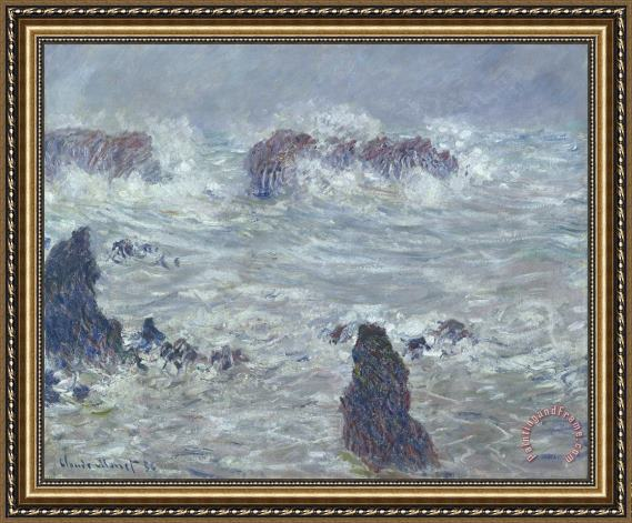 Claude Monet Storm off the Coast of Belle Ile Framed Print