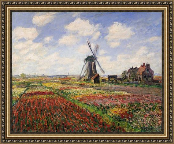Claude Monet Tulip Fields with the Rijnsburg Windmill Framed Print