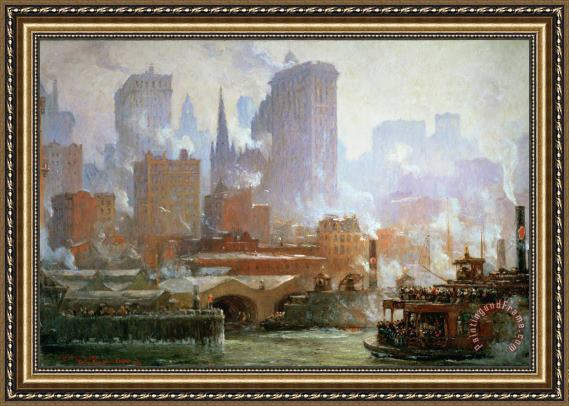 Colin Campbell Cooper Wall Street Ferry Ship Framed Painting