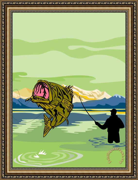 Collection 10 Largemouth Bass Fish jumping Framed Print