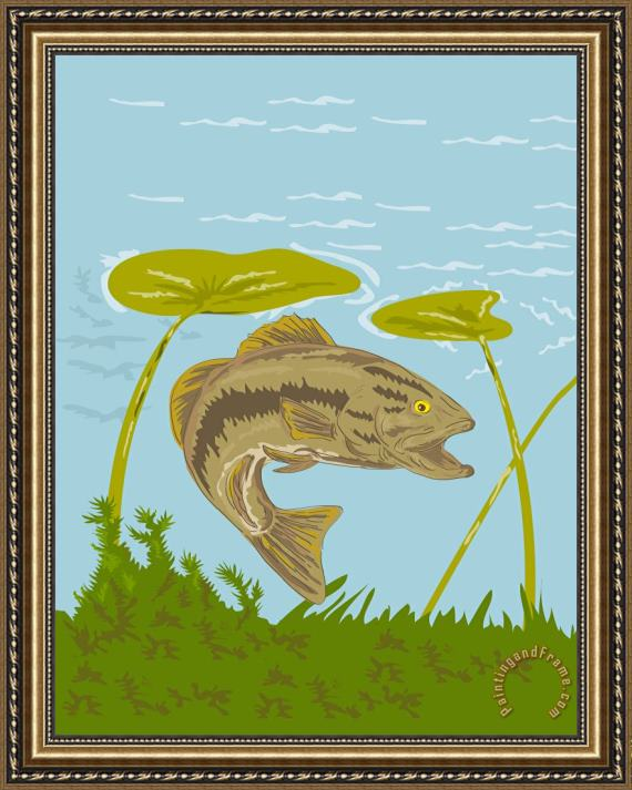 Collection 10 Largemouth Bass Fish Swimming Underwater Framed Print