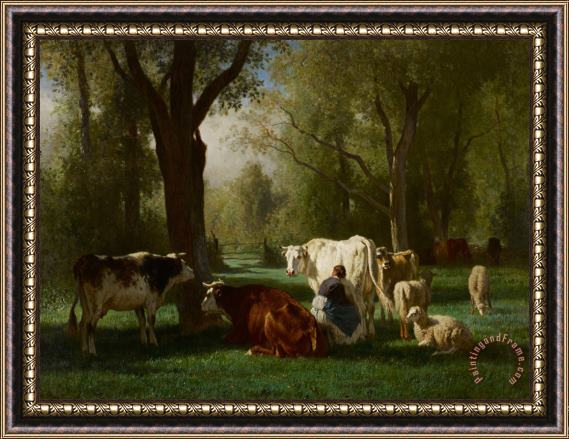 Constant-Emile Troyon Landscape With Cattle And Sheep Framed Print