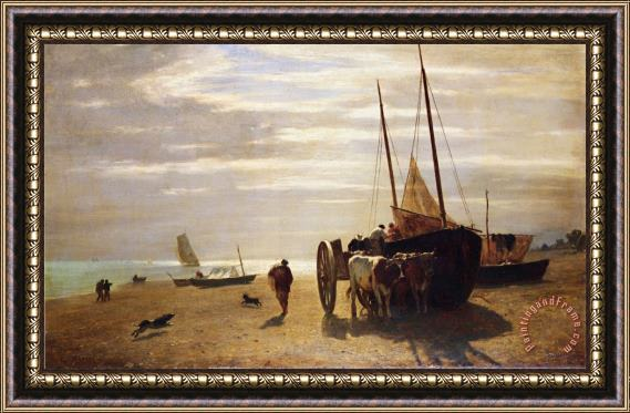 Constant Troyon Beach at Trouville Framed Print