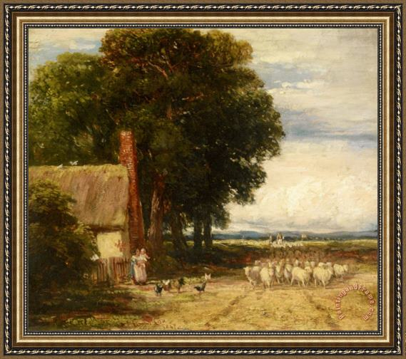David Cox Landscape with a Shepherd And Sheep Framed Print