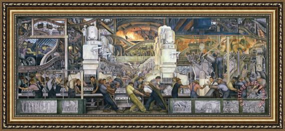 Diego Rivera Detroit Industry   North Wall Framed Painting