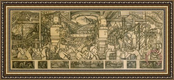 Diego Rivera Presentation Drawing Of The Automotive Panel For The North Wall Of The Detroit Industry Mural Framed Print