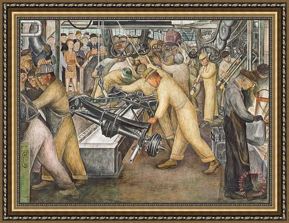 Diego Rivera South Wall Of A Mural Depicting Detroit Industry Framed Print