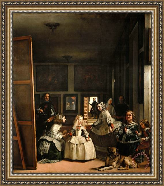 Diego Velazquez Las Meninas Detail of The Lower Half Depicting The Family of Philip Iv of Spain 1656 Framed Print