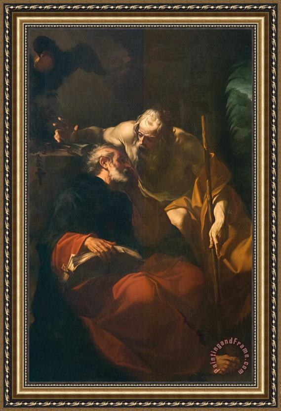 Domenico Maria Viani St. Benedict And A Hermit Framed Print