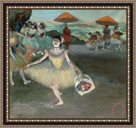 Edgar Degas Dancer with Bouquet, Curtseying Framed Painting