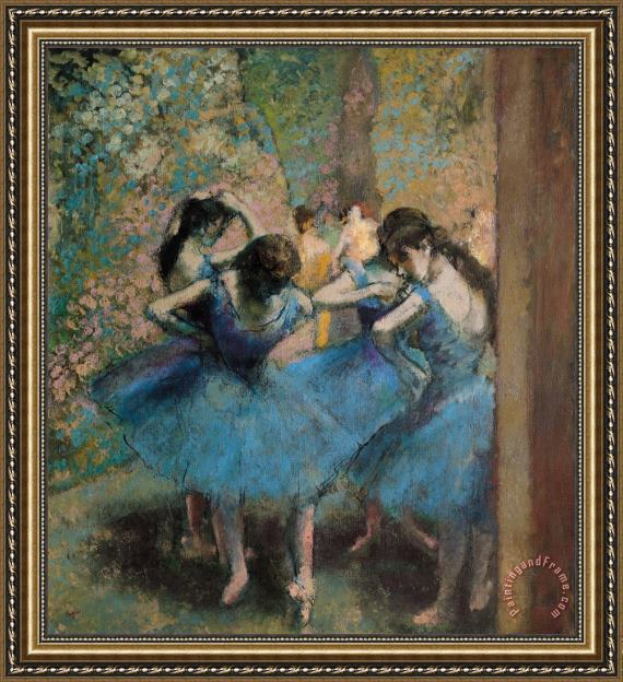 Edgar Degas Dancers in blue Framed Print