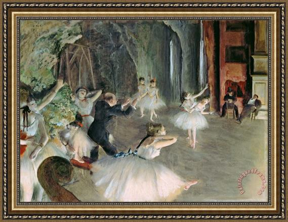 Edgar Degas The Rehearsal of the Ballet on Stage Framed Print