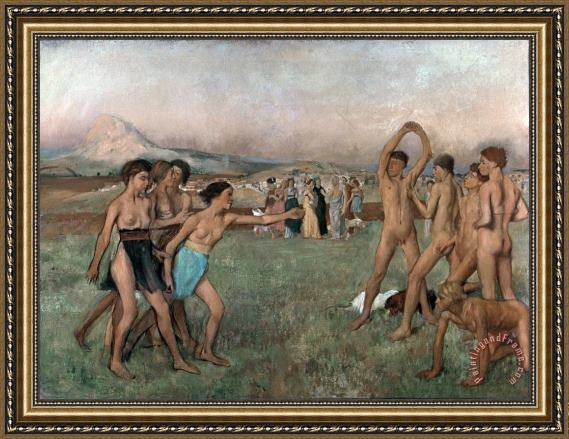Edgar Degas Young Spartans Exercising Framed Print