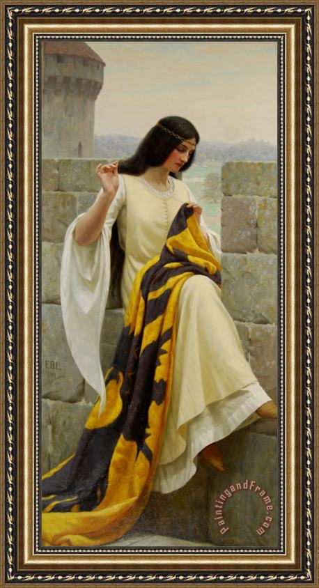 Edmund Blair Leighton Stitching the Standard Framed Print