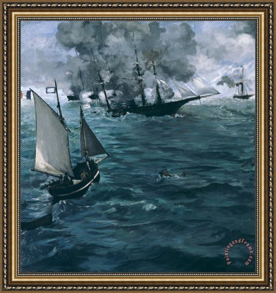 Edouard Manet The Battle Of The Uss Kearsarge And The Css Alabama Framed Print