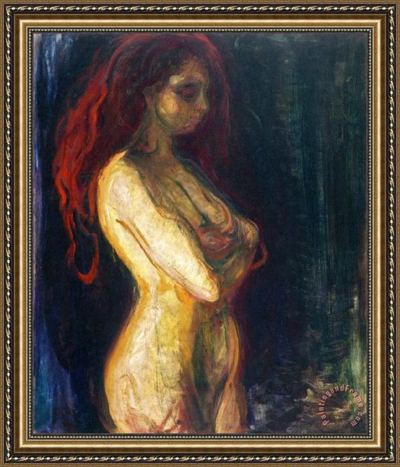 Edvard Munch Nude in Profile Towards The Right 1898 Framed Print
