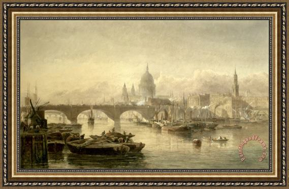 Edward Angelo Goodall St Paul S Cathedral And London Bridge From The Surrey Side Framed Print