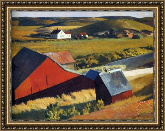 Edward Hopper Cobbs Barns And Distant Houses Framed Painting