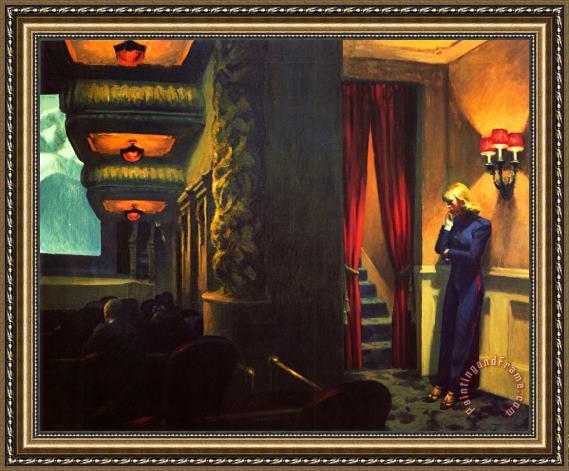 Edward Hopper New York Movie Framed Painting For Sale