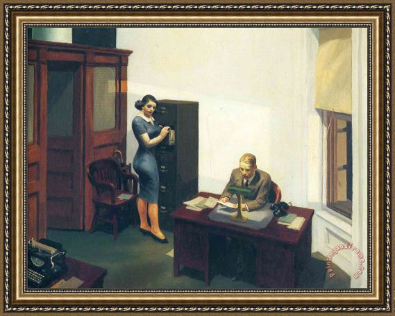 Edward Hopper Office at Night Framed Painting