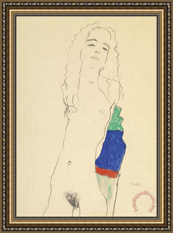 Egon Schiele Standing Female Nude Framed Painting
