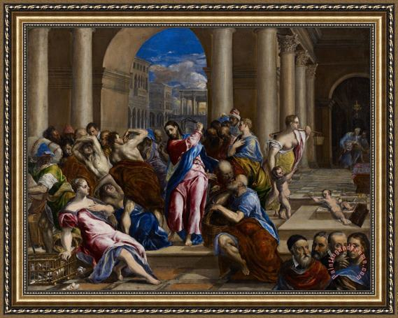 El Greco Christ Driving The Money Changers From The Temple Framed Painting