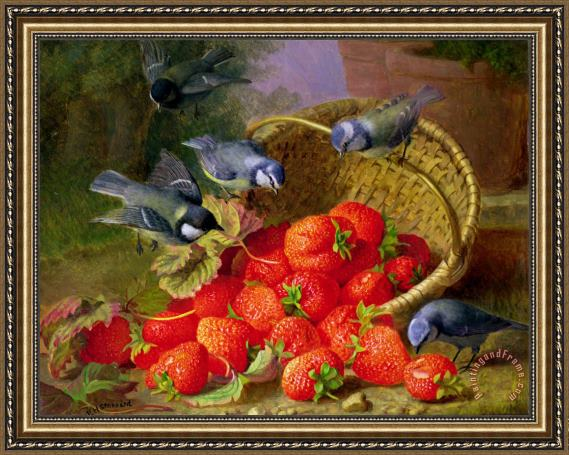 Eloise Harriet Stannard Still Life with Strawberries And Bluetits Framed Print