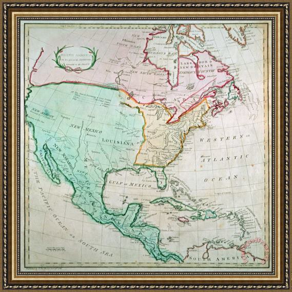 English School Map of North America Framed Print