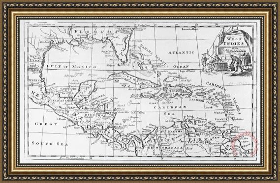 English School Map of the West Indies Florida and South America Framed Print