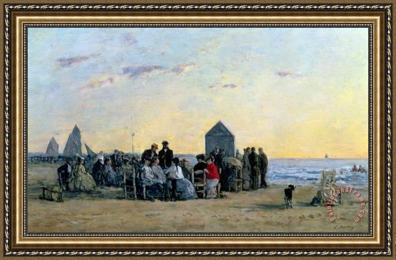 Eugene Louis Boudin Beach Scene at Trouville - Sunset Framed Print