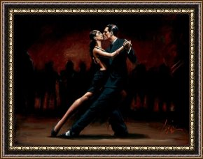 Tango Framed Paintings - Tango in Paris in Black Suit by Fabian Perez