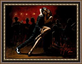 Tango Framed Paintings - Tango in Red by Fabian Perez