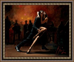 Tango Framed Paintings - Tango in White by Fabian Perez