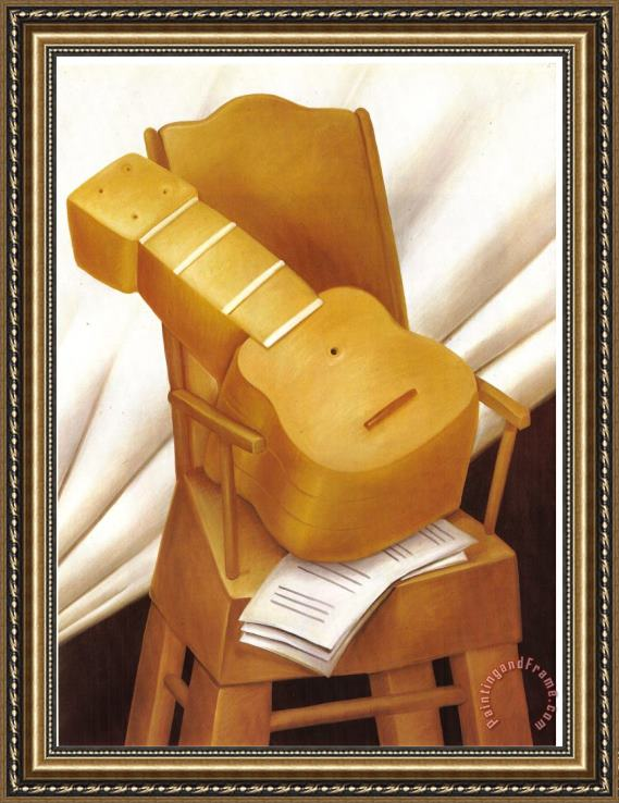 fernando botero Guitar And Chair Framed Print