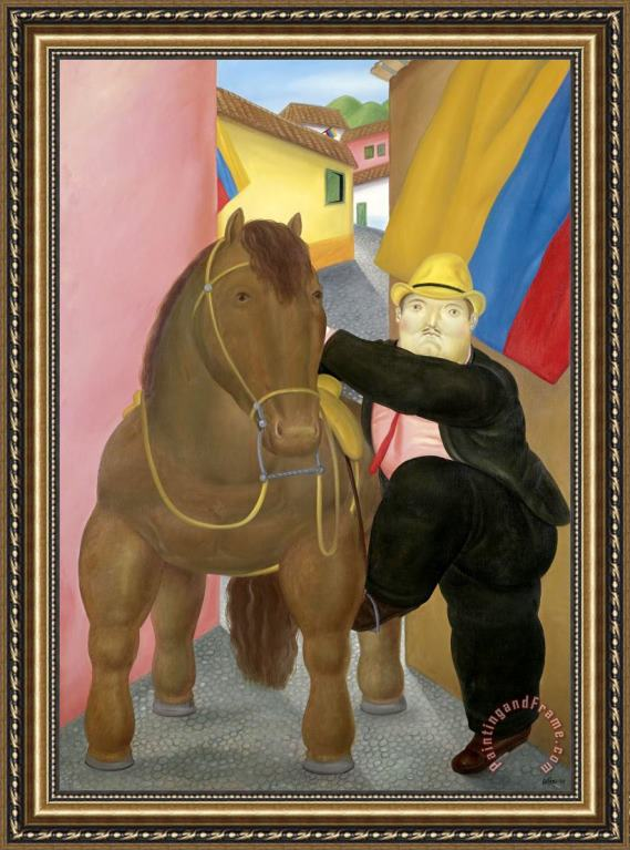 fernando botero Man And Horse Framed Print for sale ...