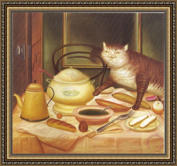 fernando botero Still Life with Green Soup Framed Painting