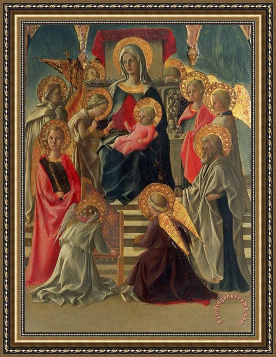 Fra Filippo Lippi Madonna and Child enthroned with Angels and Saints Framed Print