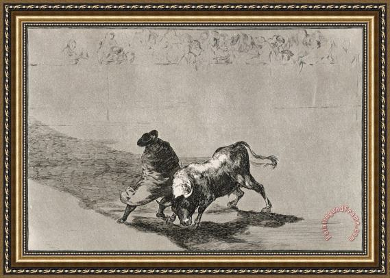 Francisco De Goya The Clever 'student of Falces' Infuriates The Bull by Moving About Wrapped in His Cloak Framed Print