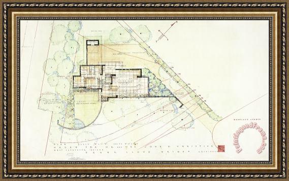 Frank Lloyd Wright John E Christian House West Lafayette Indiana Framed Print For Sale