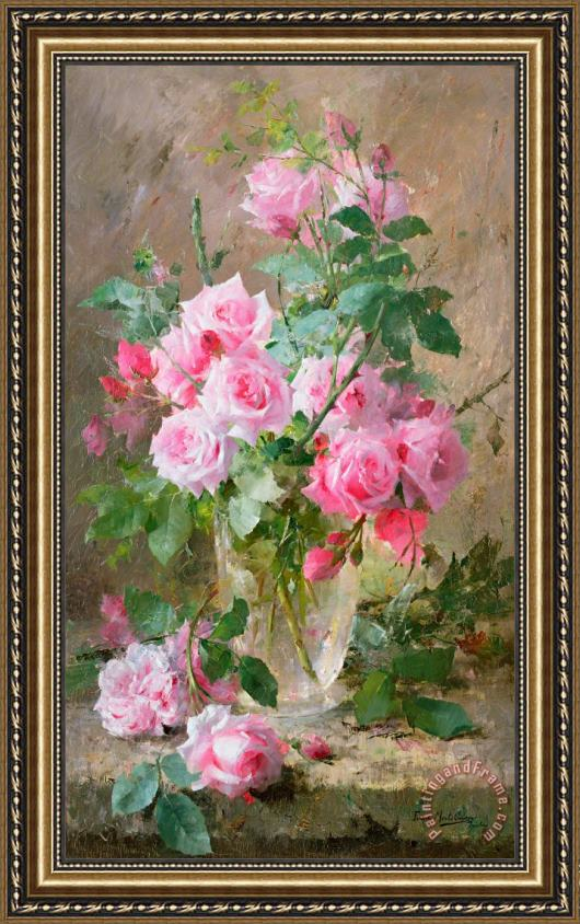 Frans Mortelmans Still life of roses in a glass vase Framed Print