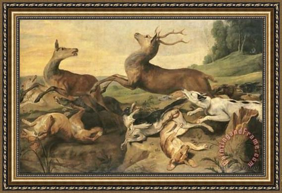 Frans Snyders Dogs hunting deer in a landscape Framed Painting for ...