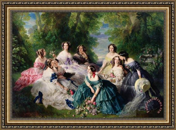 Franz Xaver Winterhalter Empress Eugenie Surrounded by her Ladies in Waiting Framed Print