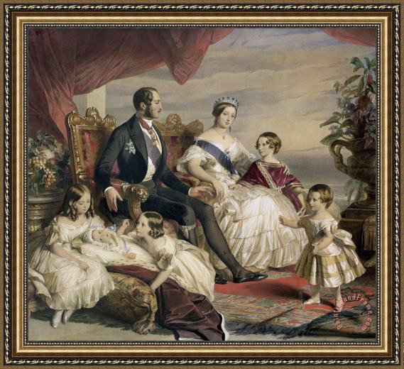 Franz Xavier Queen Victoria and Prince Albert with Five of the Their Children Framed Print
