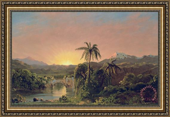 Frederic Edwin Church Sunset in Equador Framed Print
