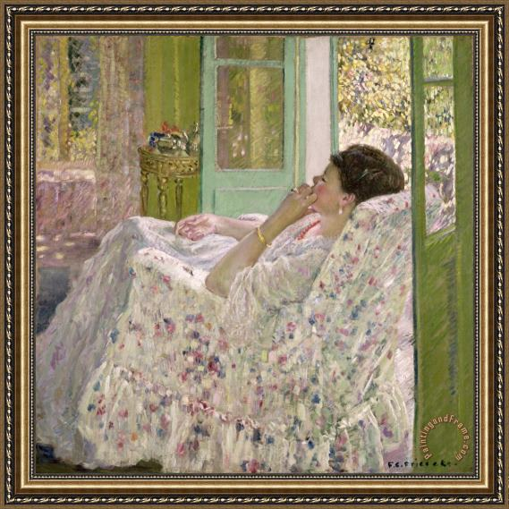 Frederick Carl Frieseke Afternoon - Yellow Room Framed Print