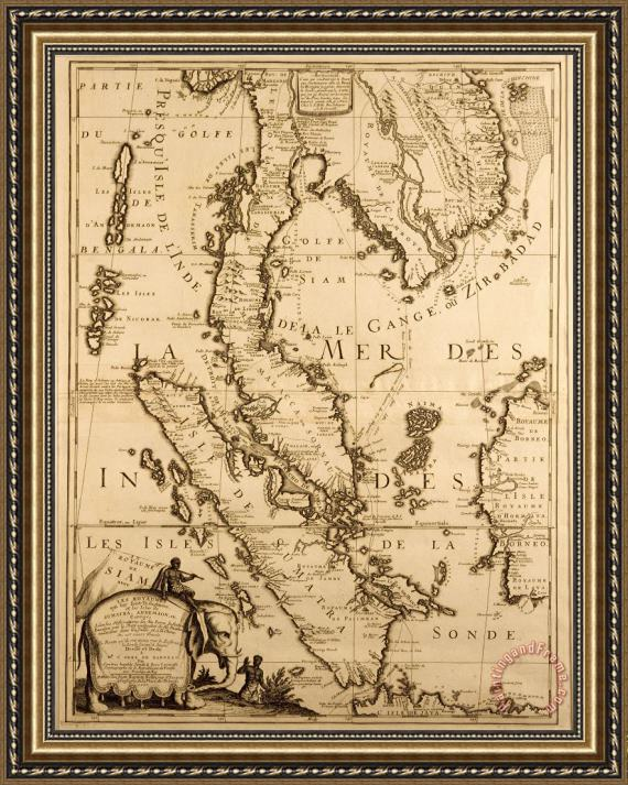 French School Antique Map of South East Asia Framed Print