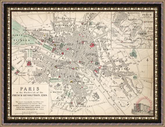 French School Map Of Paris At The Outbreak Of The French Revolution Framed Print