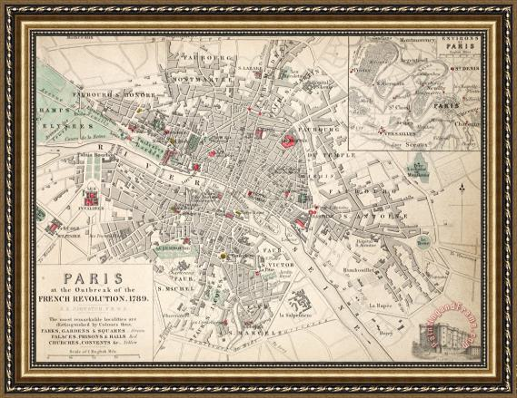 French School Map Of Paris At The Outbreak: Framed Map Of Paris At Slyspyder.com