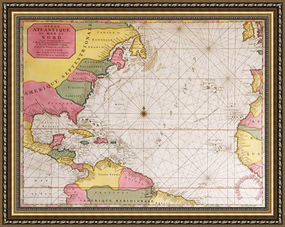 French School Map Of The Atlantic Ocean Showing The East Coast Of North  America The Caribbean And Central America Framed Print by French School